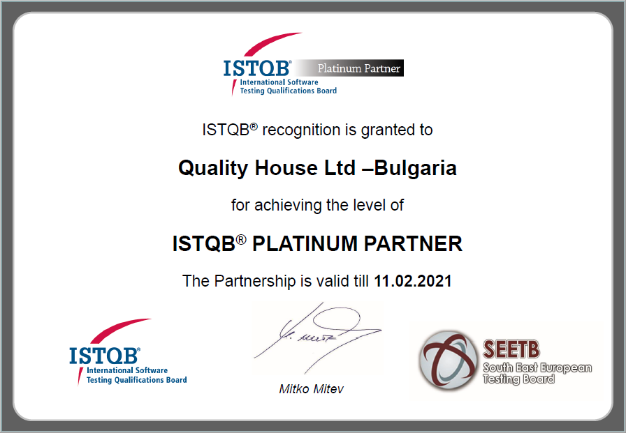 Quality House is an ISTQB Platinum Partner for seventh consecutive year!